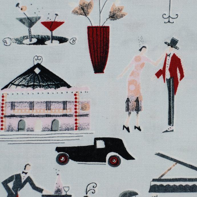 "Paris Retro Print Fabric - half meter - extra wide 59"" - pale blue grey -100%"