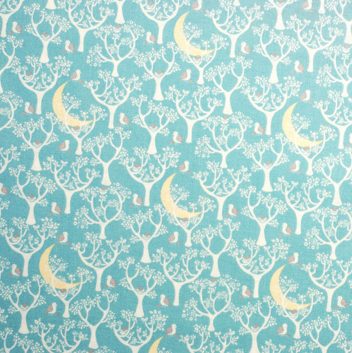 Magical Forest & Moon Print fabric - half meter - 100% Cotton -  Duck Egg blue -