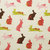 Bunny Print fabric - half meter - 100% Cotton - pink brown green on soft beige -