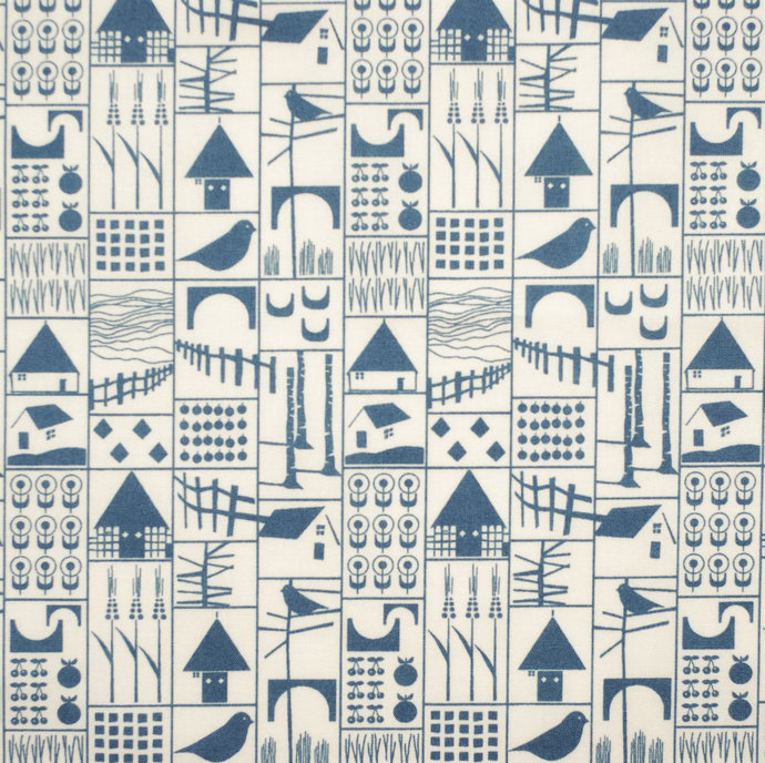 Pretty fat quarter fabric bundle farms & birds - 100% cotton - denim blue beige