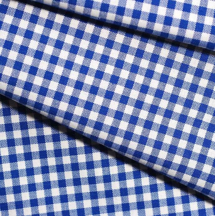 Royal Blue & White medium check fabric - half meter - 100% cotton - homespun