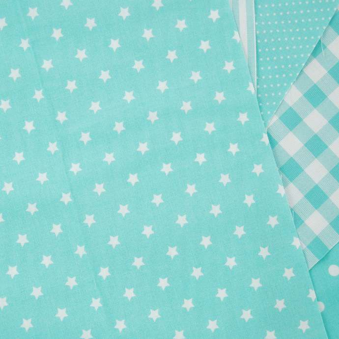 Star print fabric - half meter - 100% cotton - white on aqua turquoise- quilting