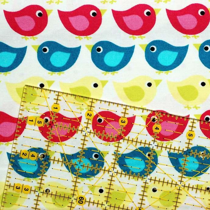 Baby Bird organic craft fabric - half meter - 100% Cotton - blue hot pink lemon