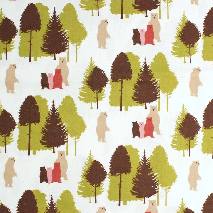 Cute Bear Print fabric - 1 meter - 100% Cotton -  pink brown green on white -