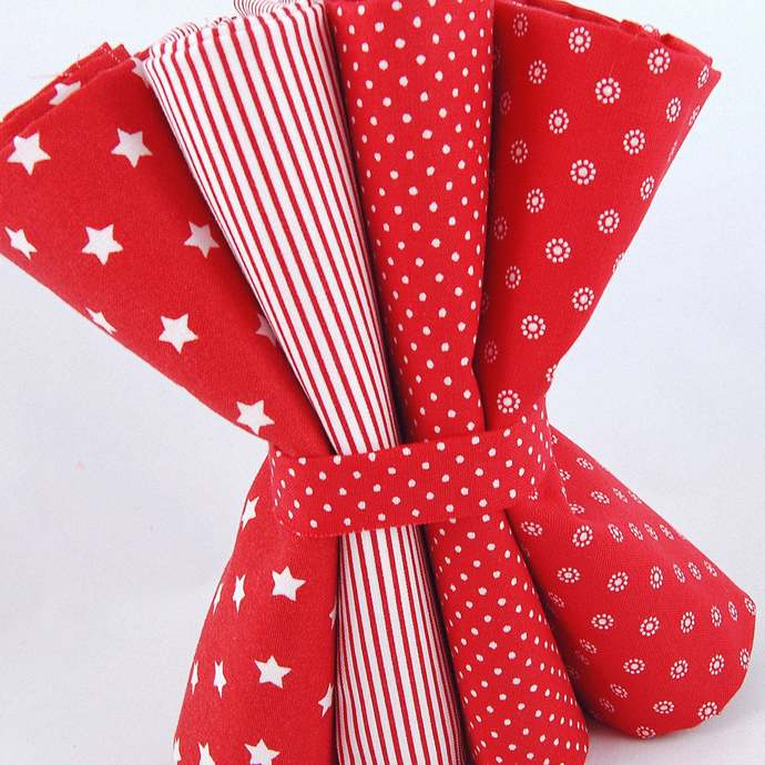 Stars and Stripes (4 piece) Fat quarter fabric bundle Red - 100% cotton - Quilts