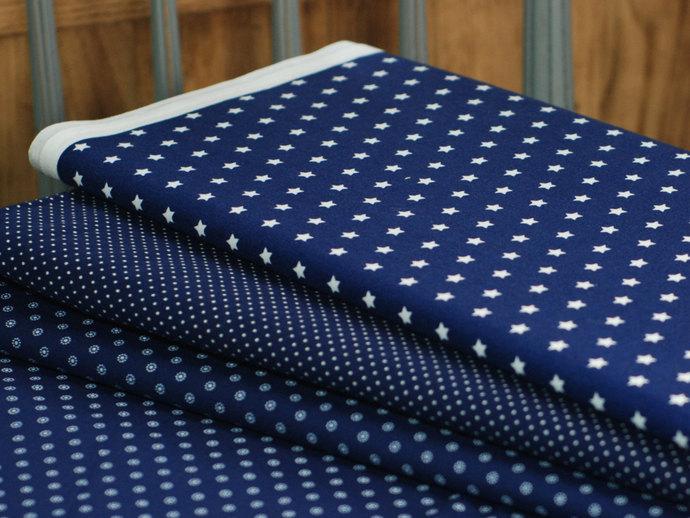 Star print fabric - half meter - 100% cotton - white on dark blue - quilting