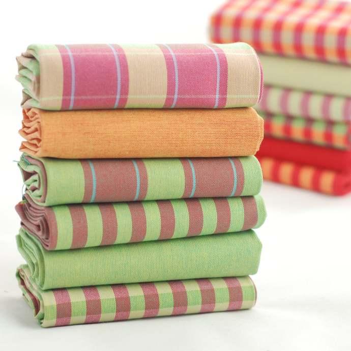 Fat quarter fabric bundle - bright bold checks stripes and solids - 100 % cotton
