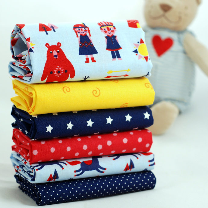 Running Horse Print Fabric - half meter - 59in width - 100% Cotton -sky blue red