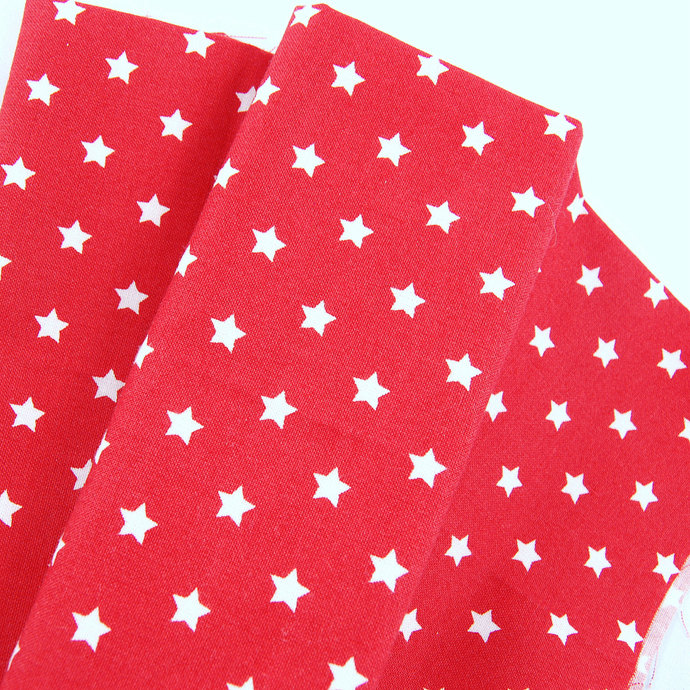 Star Print Fabric  - half meter - 100% cotton - white on red - patriotic