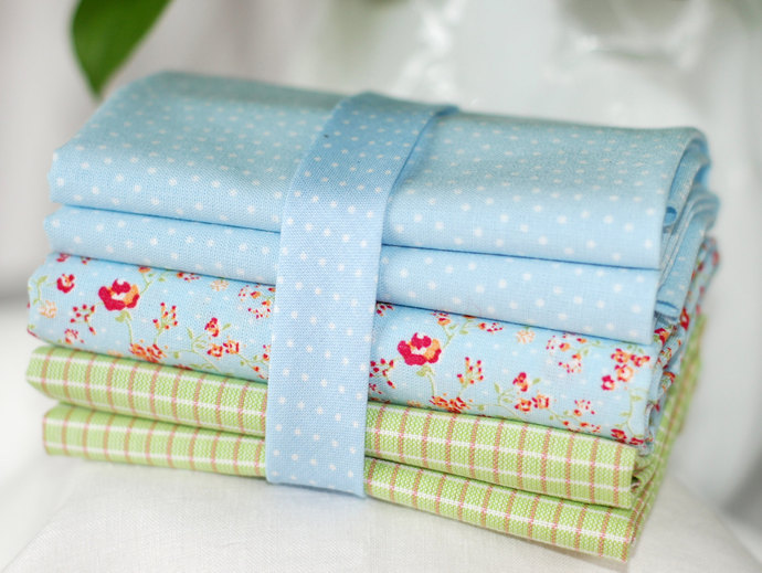Pastel Blue and White mini polka dot Bias Binding - Sold by meter