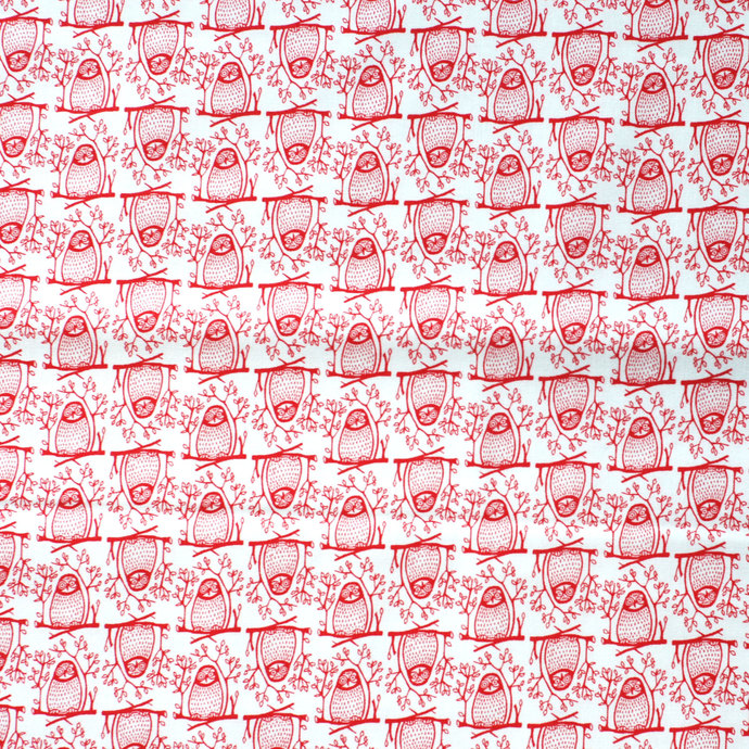 Owl Print fabric - half meter - 100% Baby Safe Cotton - red on white - quilting