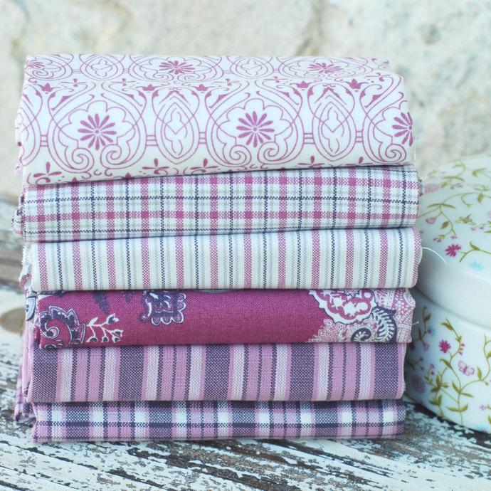 Fat quarter fabric bundle in rich Damson, Plum, Purple, Pink - 100% cotton