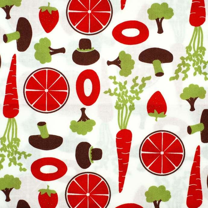 Retro Kitchen Red 100 % cotton craft fabric - extra wide 62 inches - sewing