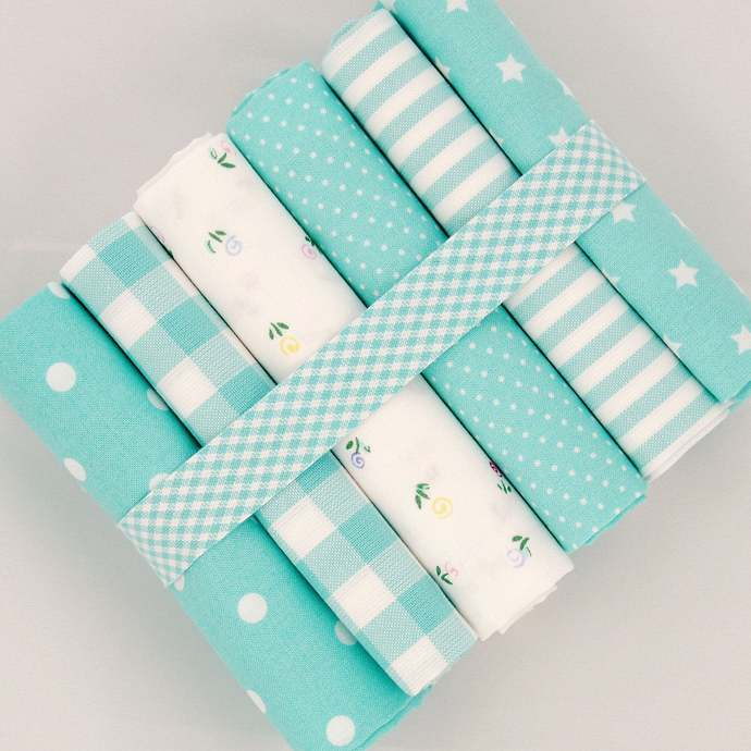 Pinstripe woven fabric - half meter - 100% cotton - white aqua turquoise-