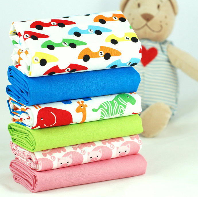 Young Fun 6 Fat Quarter Fabric Bundle - 100% cotton- colourful children's prints