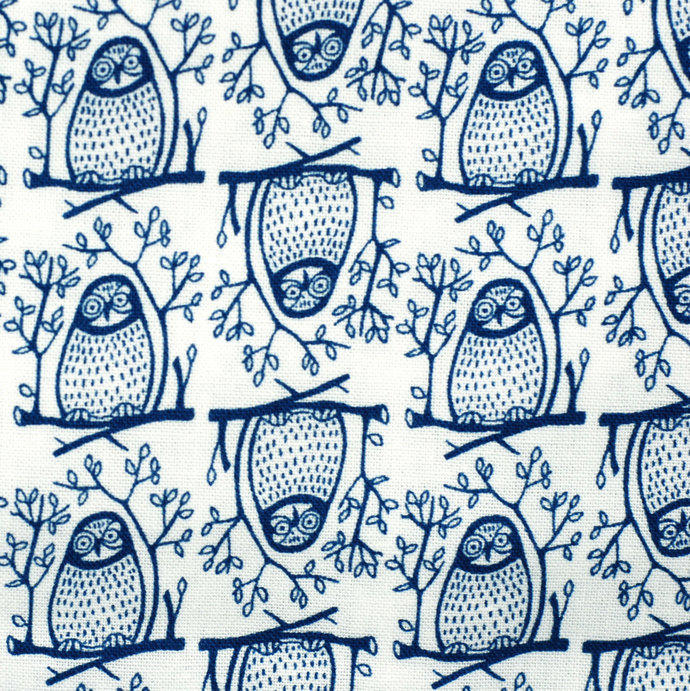 Owl Print fabric - half meter - 100% Baby Safe Cotton - royal blue on white -