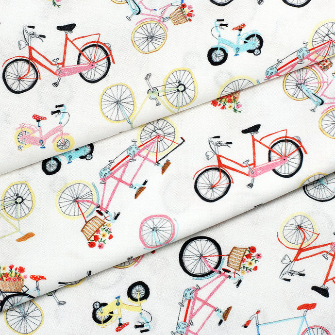 Vintage Bicycle digitally printed craft fabric - half meter- 59in wide - 100%