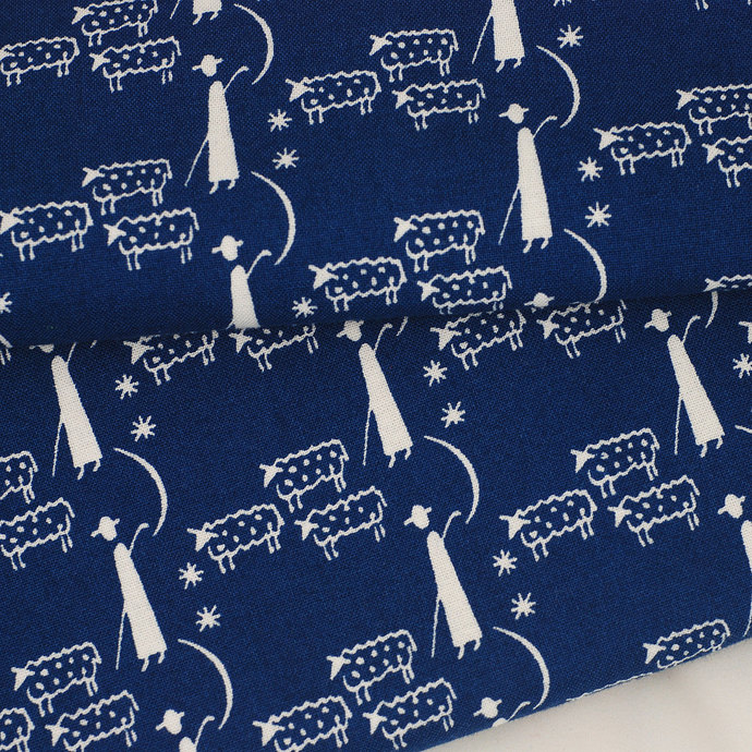 Shepherd and sheep print fabric - half meter - 100% cotton - white on dark blue