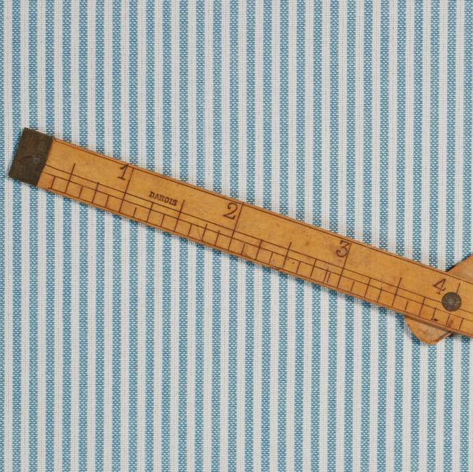 Medium Blue & White woven pinstripe fabric - half meter - 100% cotton - homespun