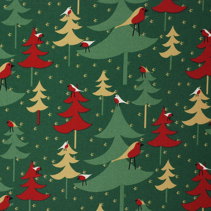Festive Christmas Tree fat quarter fabric bundle 100% cotton red green cream