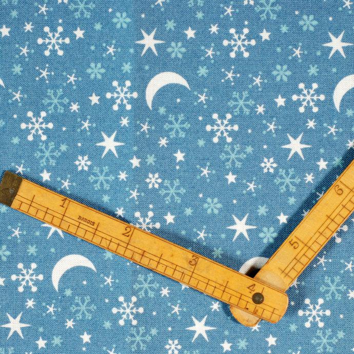 Snowflake, Star & Moon Print fabric - half meter - 100% Cotton -  Midnight blue