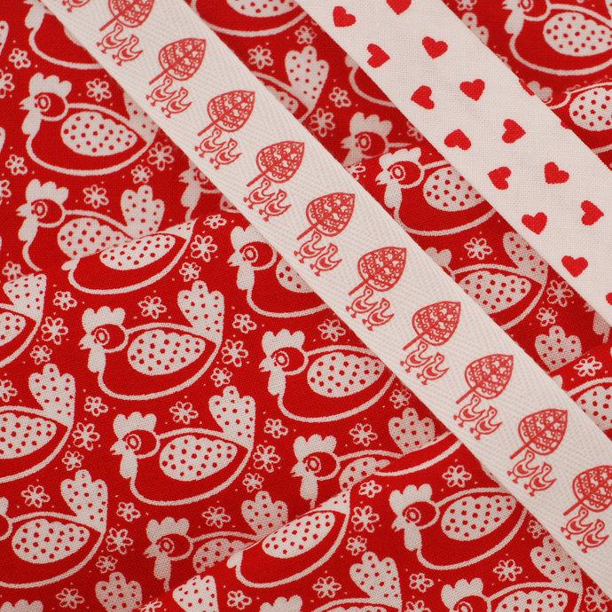 Red Chicken Print fabric - half meter - 100% Baby Safe Cotton - white on dark