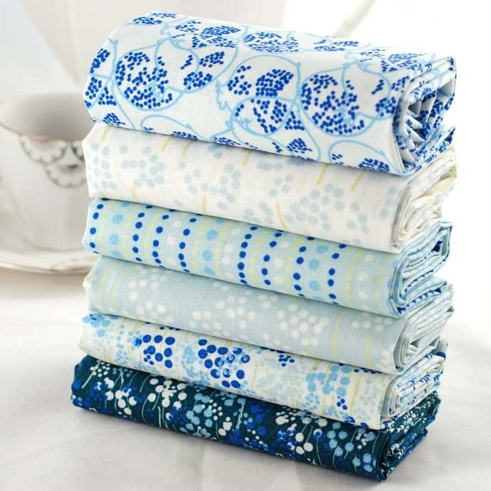 Abstract 6 Fat quarter fabric bundle - duck egg dark blue white green - 100%