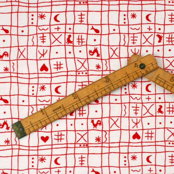 Retro Geometric print fabric - half meter - 100% Baby Safe Cotton - red on white