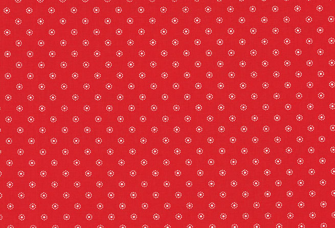Mini Daisy Print Fabric - half meter - 100% cotton - white on red - quilting