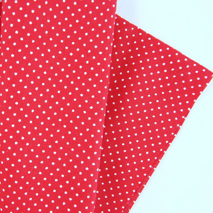 Mini Dot Print Fabric - half meter - 100% cotton - white on red - quilting