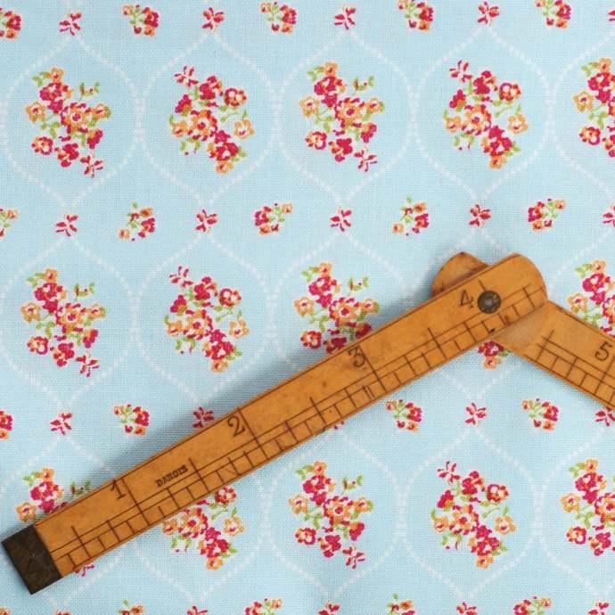 Organic Blue Flower Fabric - half meter - 100% Cotton - pastel blue - quilting