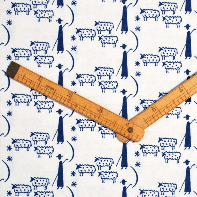 Shepherd and sheep print fabric - half meter - 100% cotton - dark blue on white