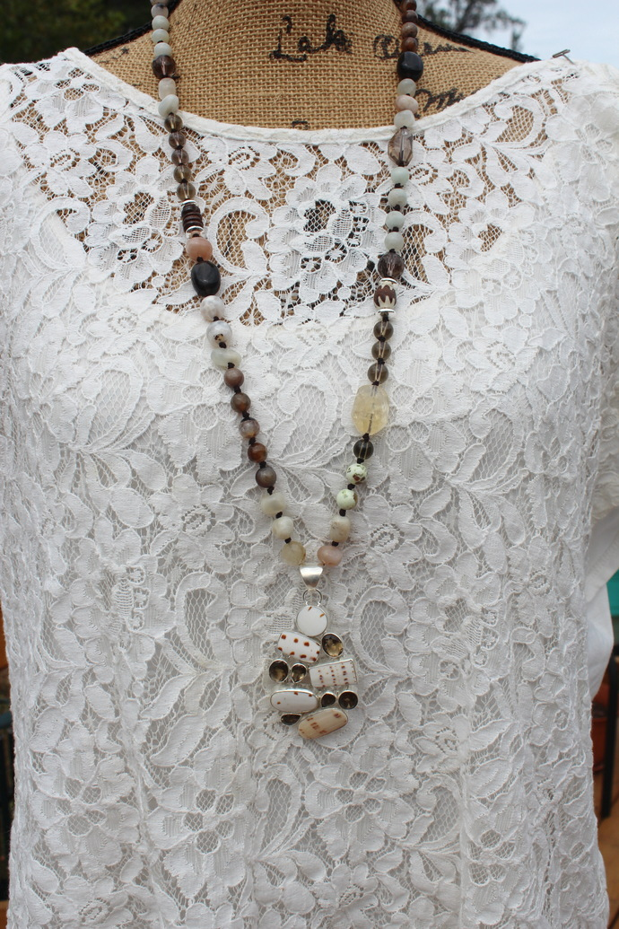 Expand your Consciousness Long Beaded Necklace with Pendant Wear your Crystals