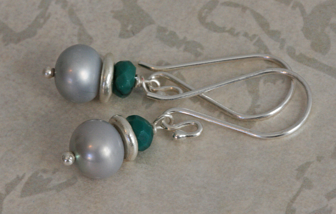COWGIRL PEARLS Silver TURQUOISE dangle earrings