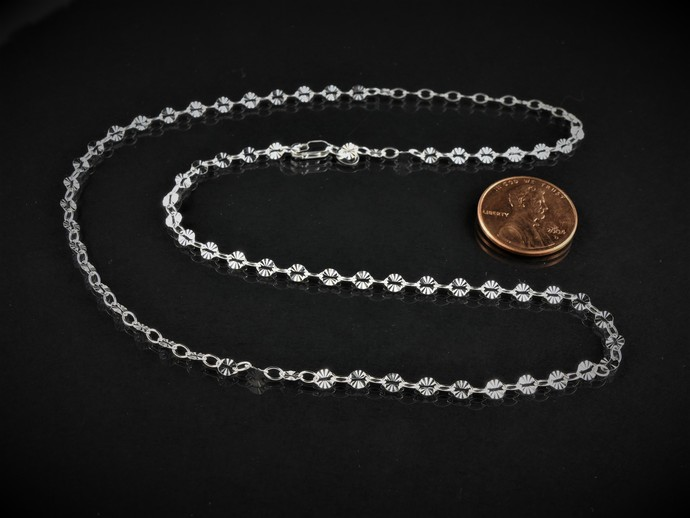 "Argentium 18"" Silver Chain, Patterned & Smooth 3.8 x 2.6mm Oval Cable Links"