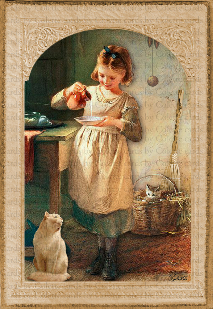 Milk for the Kitty Digital Collage Greeting Card2438