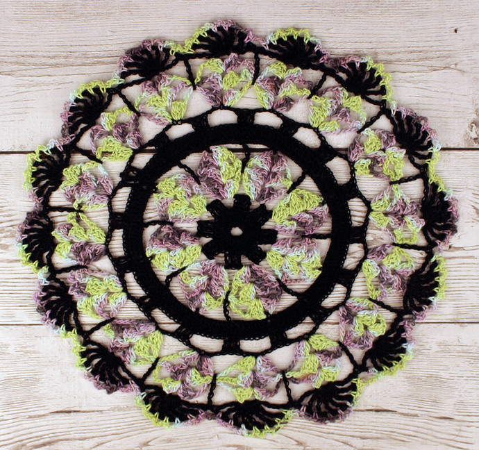 "Crocheted Halloween Black Purple Green Blue Table Topper Doily - 10 3/4"""
