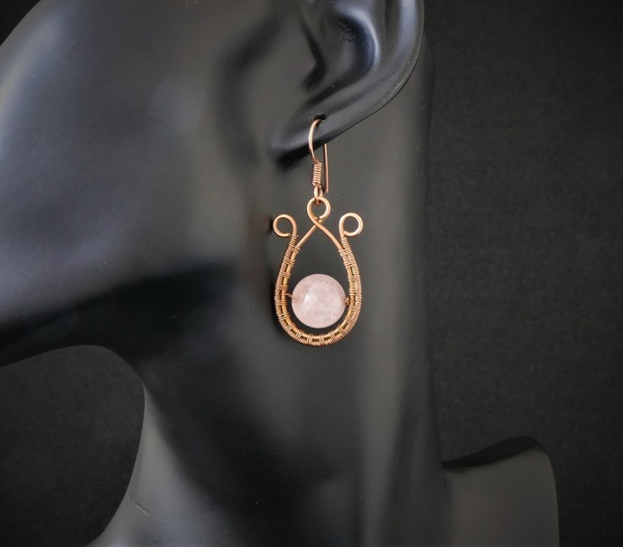 Rose Quartz Dangle Copper Earrings; Woven Wire Wrapped (E104)