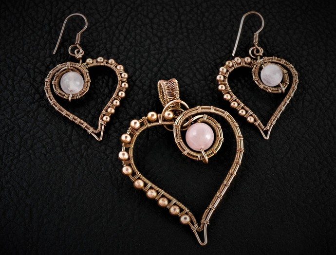 Rose Quartz Heart Pendant and Earrings Set  -  Copper Wire Wrapped and Woven