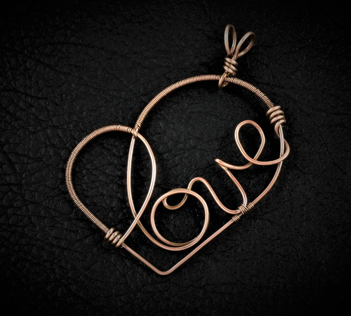 Love Heart Wire Wrapped Pendant (P133)