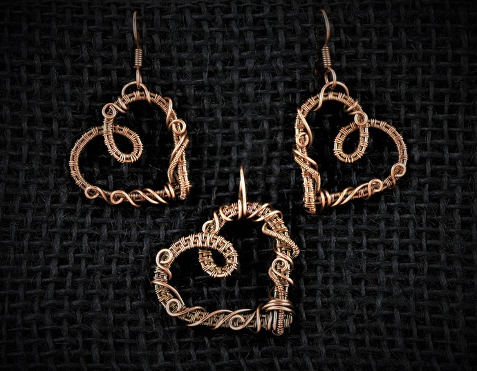 Heart Copper Pendant and Earrings Set; Wire Wrapped Woven Set includes chain