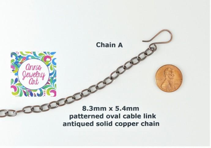 Rhodonite Copper Pendant; Wire Wrapped Woven chain included (P129)