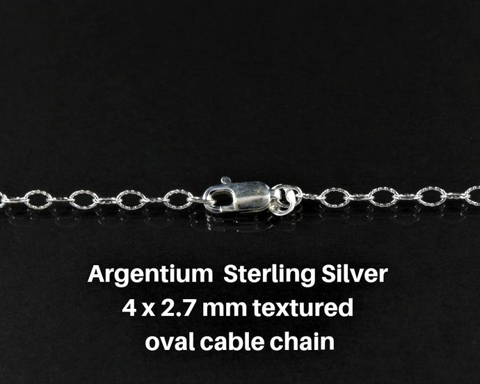 "Argentium 18"" Silver Chain; Oval Textured Cable Links 4 x 2.7mm"