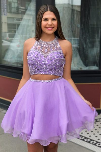 Elegant Beaded Two Piece Homecoming Dress, Tulle Short Prom Dress