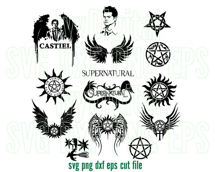 Supernatural SVG Super hero Clipart Supernatural logo sign Pentagram symbol SVG