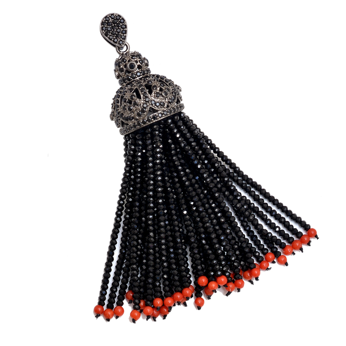 925 Sterling Silver Swing Natural Coral Black Spinel  Tassel Jewelry Pendant .