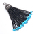 925 Sterling Silver Swing Natural Turquoise Black Spinel Tassel Jewelry Pendant