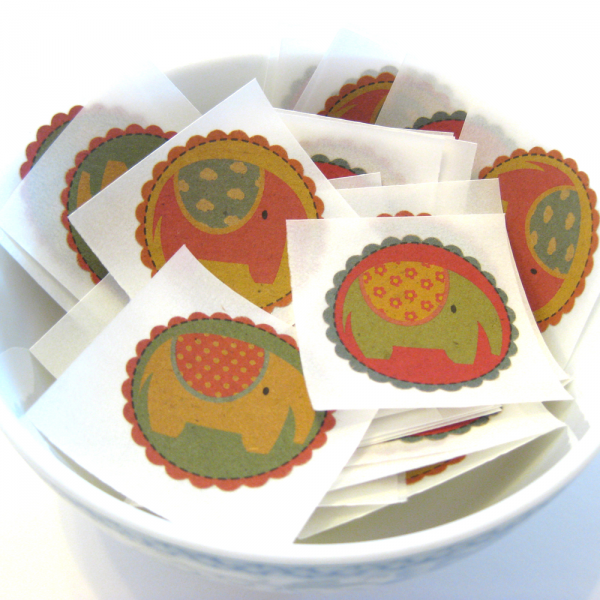 Brown Paper Elephant Stickers - Set of 9
