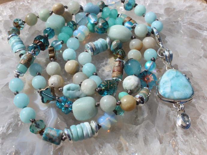 The Goddess Hand knot Long Beaded Necklace with Pendant Larimar Jewelry by