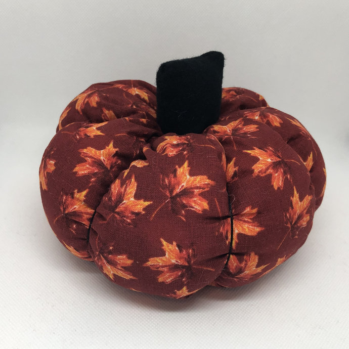 Large Red and Orange Leaves Fall Decor Soft Fabric Pumpkin